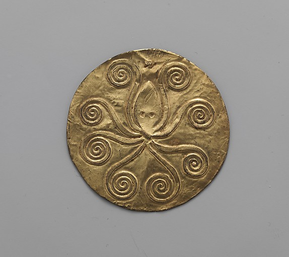 Reproduction of a gold disk with an embossed octopus