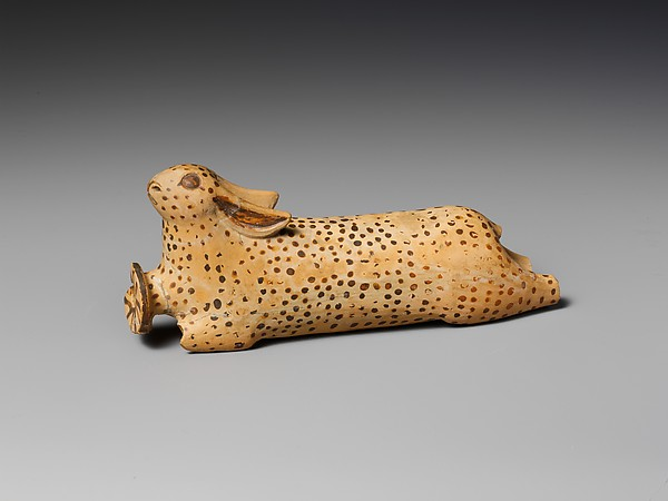 Terracotta alabastron (perfume vase) in the shape of a hare