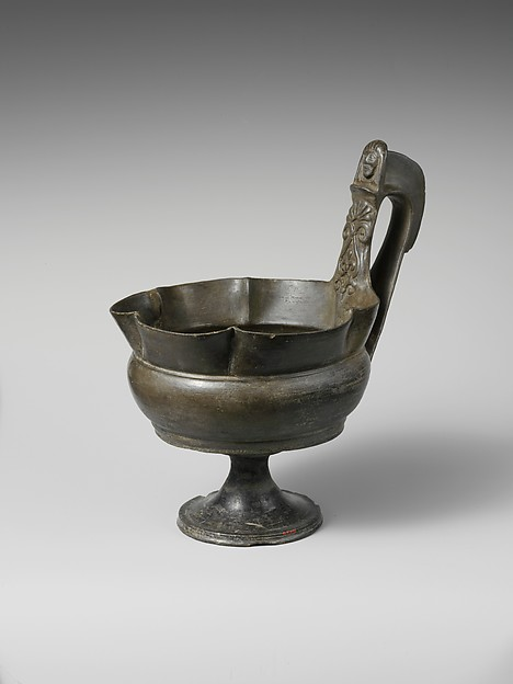 Terracotta stemmed kyathos (single-handled cup)