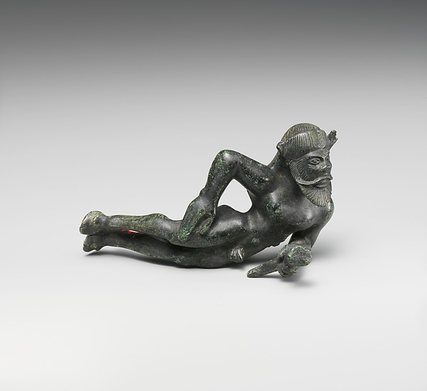 Bronze statuette of a reclining satyr