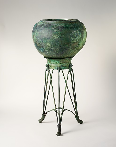Bronze tripod and dinos (deep round-bottomed bowl)