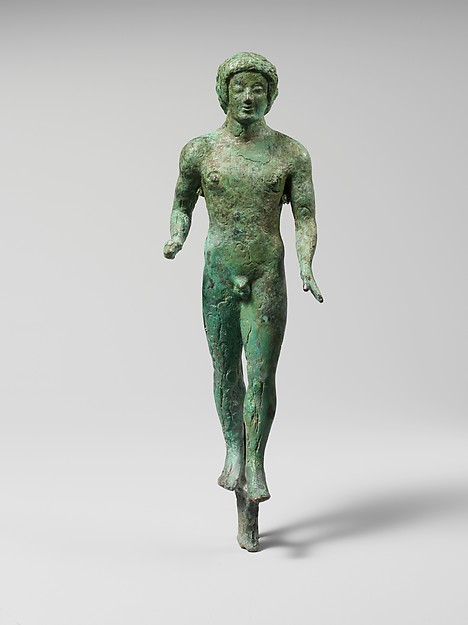 Bronze statuette of a nude youth