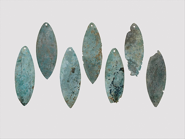Bronze elliptical leaf, perhaps a waist ornament