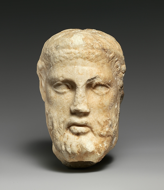 Marble head of a bearded man from a herm