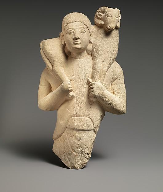Limestone ram-bearer