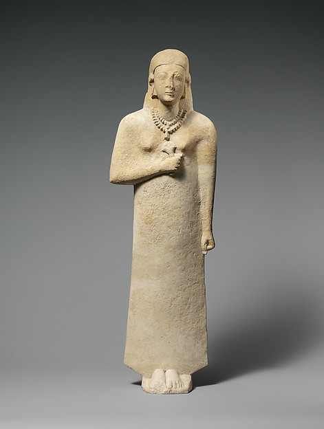 Limestone statue of a woman