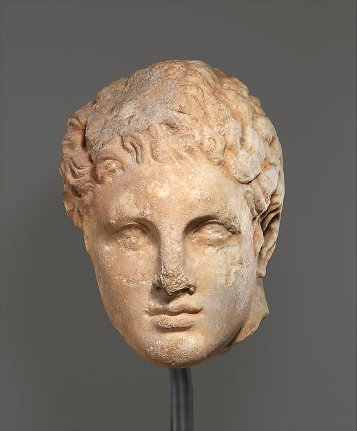 Marble head of a youth from a relief