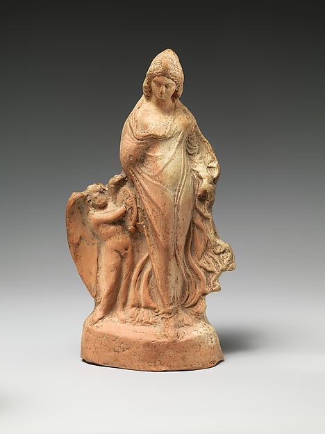 Terracotta statuette of dancing Aphrodite with Eros