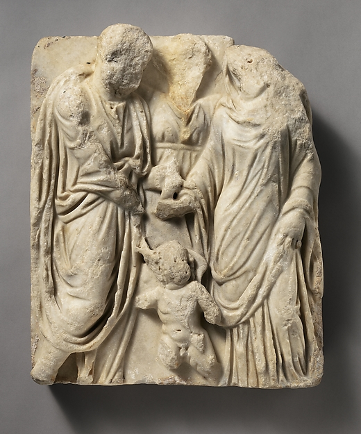 Marble sarcophagus fragment with a marriage scene