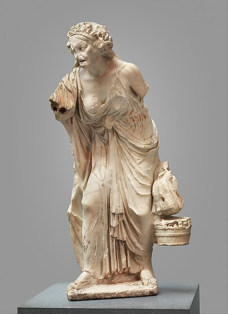 Marble statue of an old woman