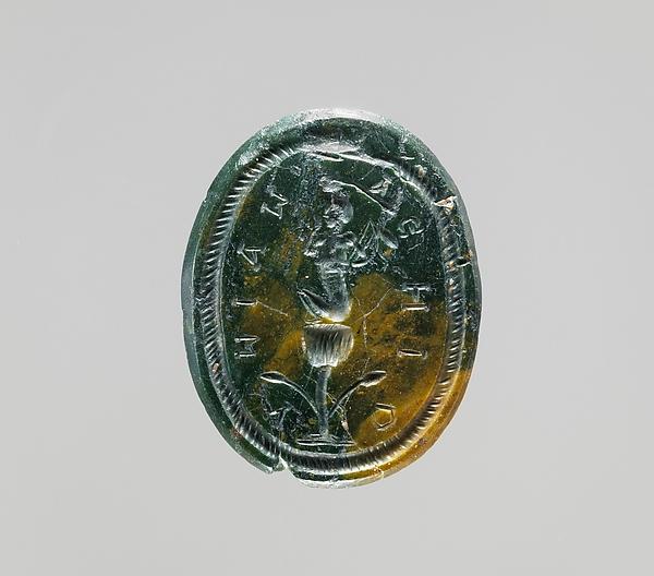 Jasper intaglio: Harpocrates seated on a lotus