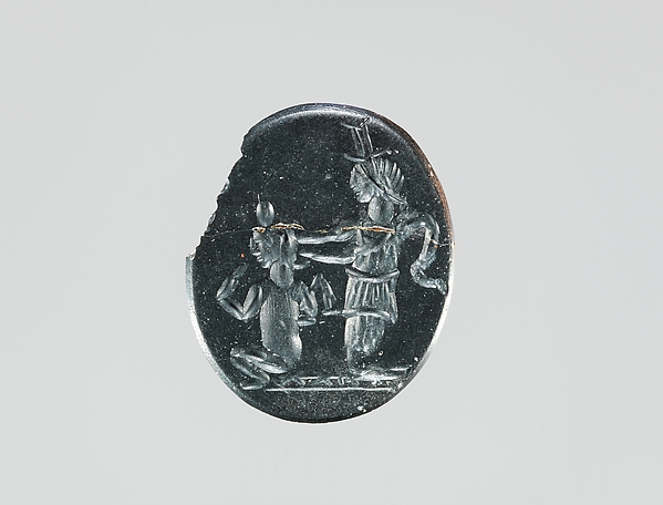 Hematite intaglio: Isis and Harpocrates
