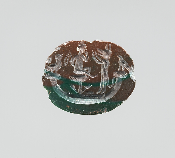 Jasper intaglio: Harpocrates seated on lotus in papyrus boat