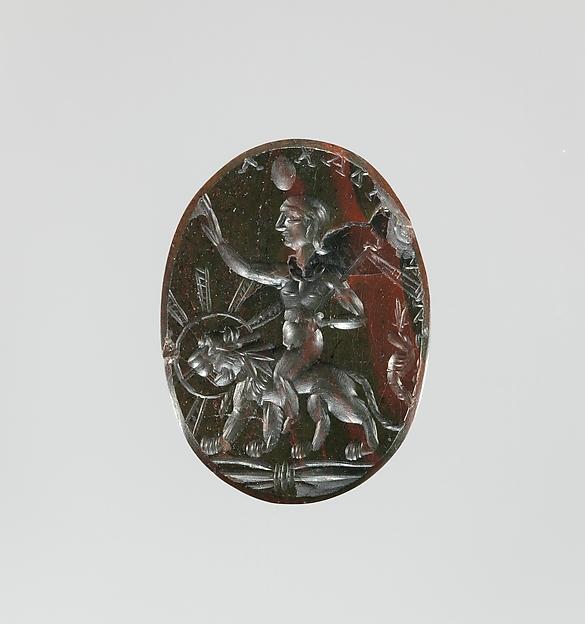 Jasper intaglio: Harpocrates riding a lion