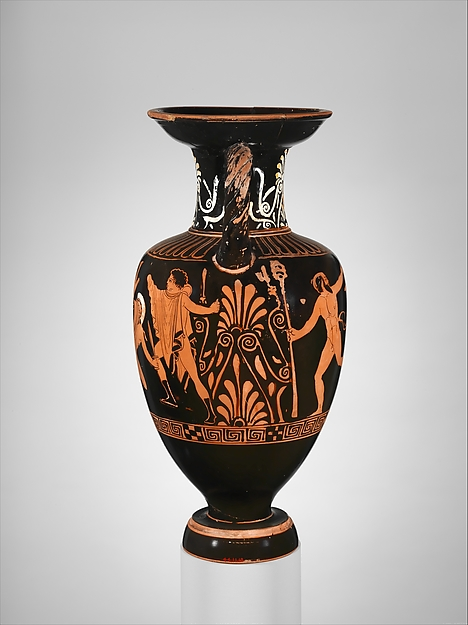 Terracotta neck-amphora (jar) with twisted handles