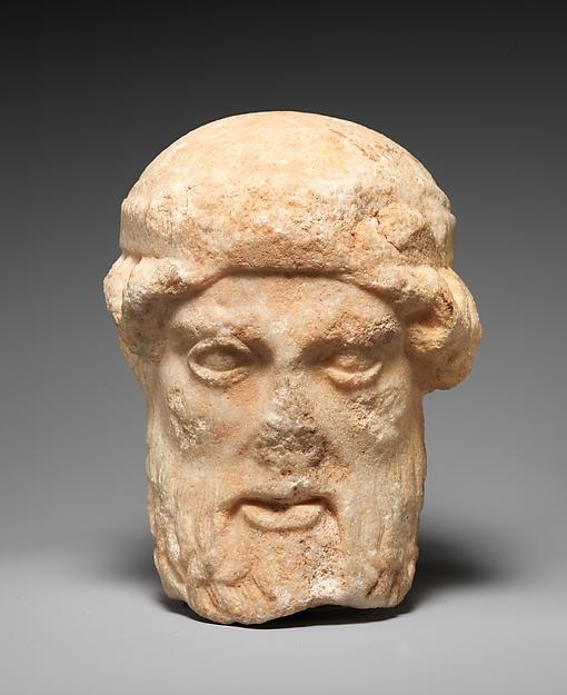 Marble herm head of a bearded deity