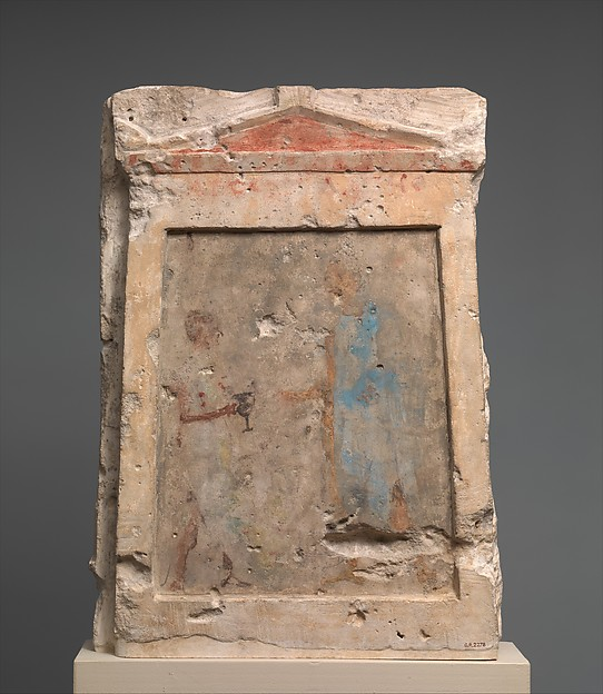 Painted limestone funerary slab with a soldier taking a kantharos from his attendant