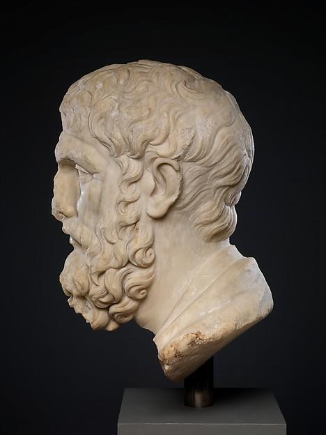 Marble head of Epikouros