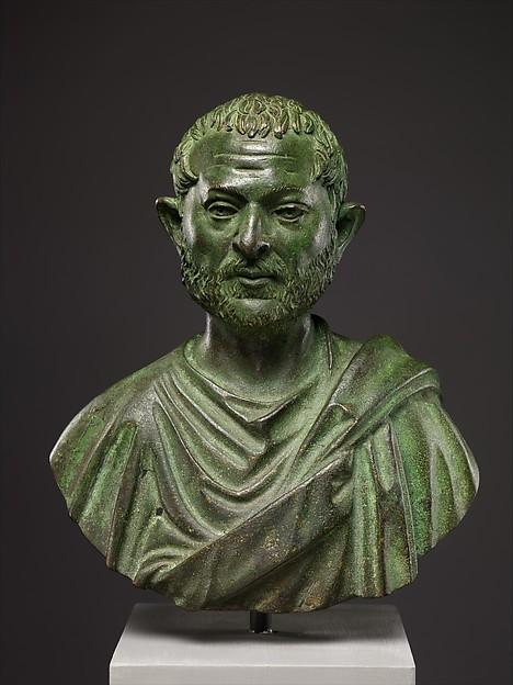 Bronze portrait bust of a man