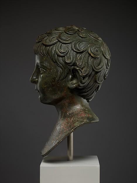Bronze portrait bust of a young boy
