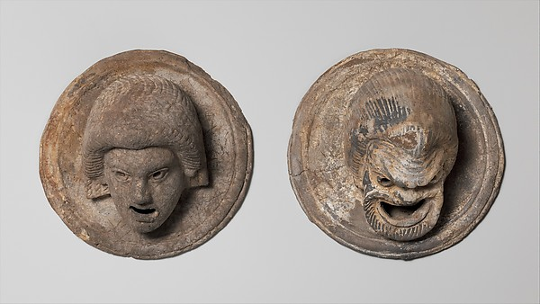 Terracotta roundels in the form of theatrical masks