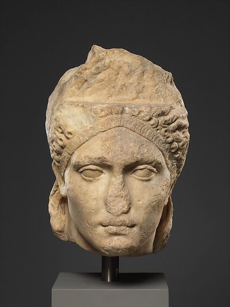 Over-life-sized marble portrait, probably of the empress Sabina