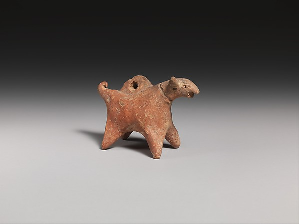 Terracotta dog (?) figurine with suspension hole