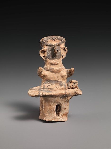 Terracotta statuette of a woman with child