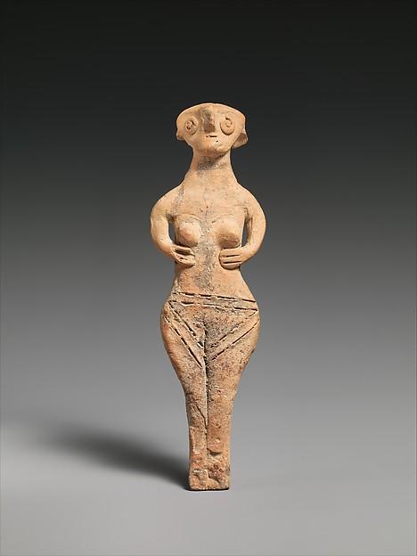 Terracotta statuette of a nude woman