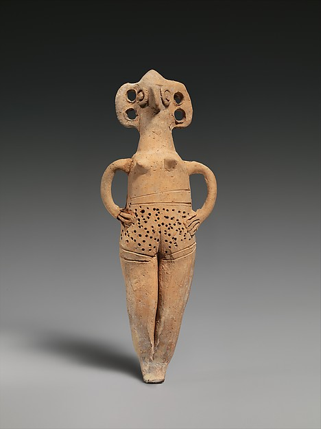 Terracotta statuette of woman with bird face