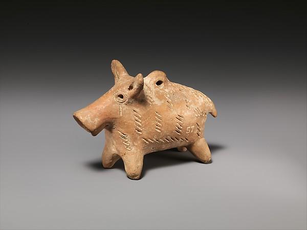 Terracotta boar figurine