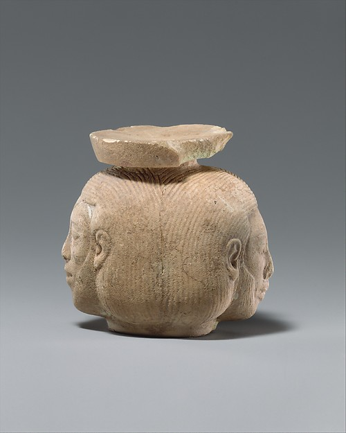Faience aryballos (perfume vase) in the form of two heads