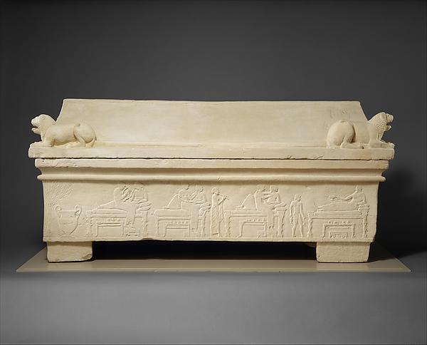 Limestone sarcophagus