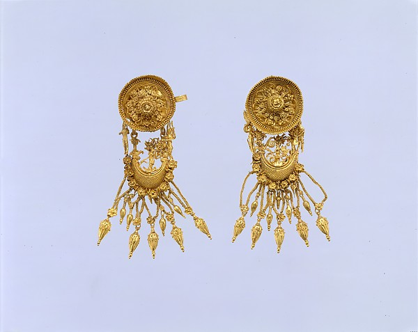 Pair of gold earrings with disk and boat-shaped pendant