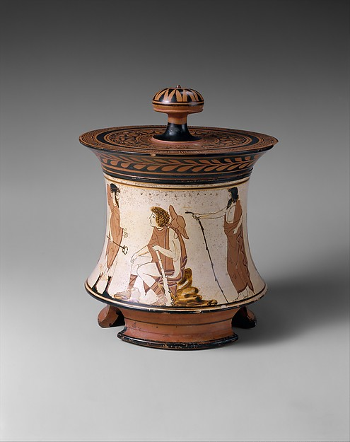 Terracotta pyxis (box) with the Judgment of Paris