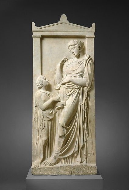 Marble grave stele of a young woman and servant