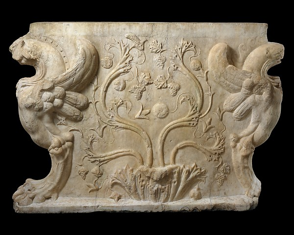 Marble trapezophoros (table support)