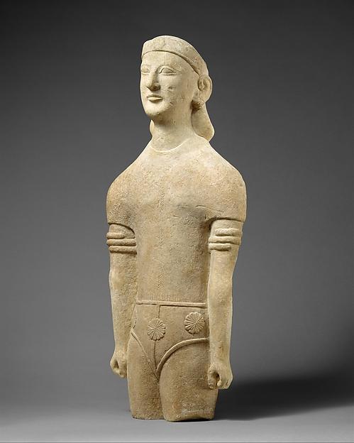 Limestone male figure