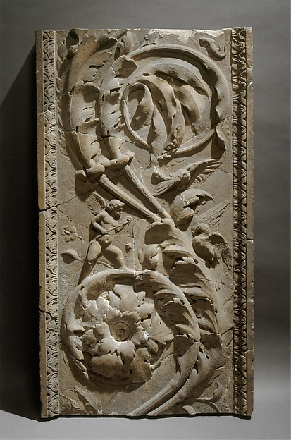 Marble pilaster with acanthus scrolls