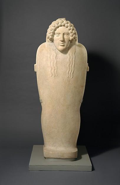 Marble anthropoid sarcophagus