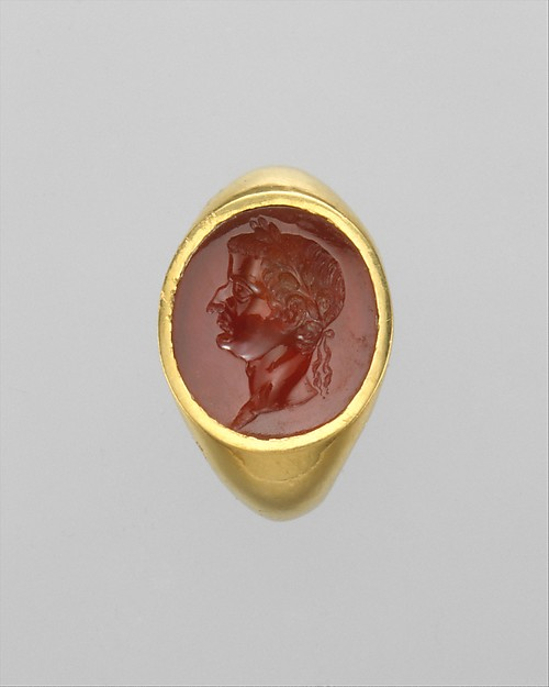 Gold ring with carnelian intaglio portrait of the Emperor Tiberius
