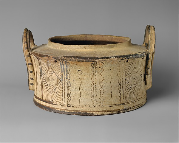 Terracotta pyxis (cylindrical box)