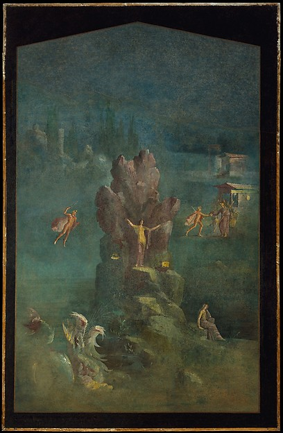 Wall painting: Perseus and Andromeda in landscape, from the imperial villa at Boscotrecase