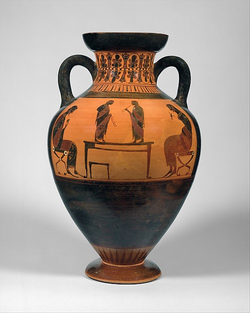 Terracotta neck-amphora of Panathenaic shape