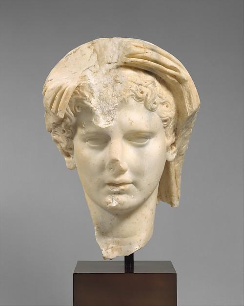 Marble head of a veiled man