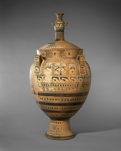 Terracotta krater with lid surmounted by a small hydria