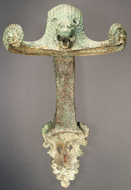 Vertical handle of a bronze hydria (water jar)