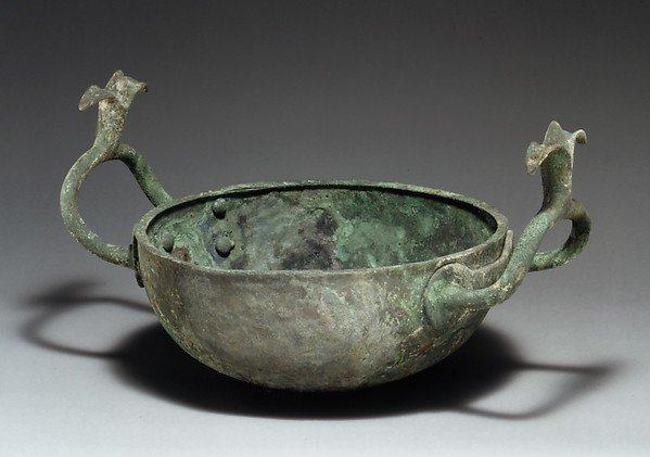 Bronze bowl with handles terminating in lotuses