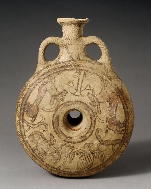 Terracotta lentoid flask