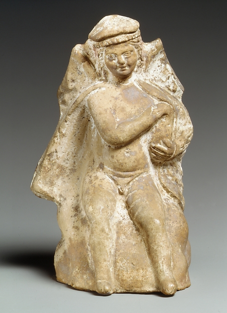 Terracotta statue of Eros holding a swan